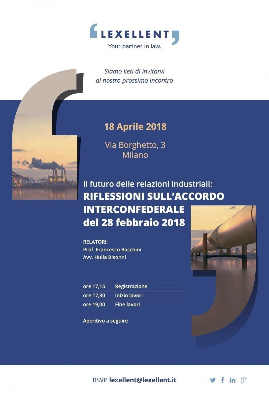 Il futuro delle relazioni industriali: riflessioni sull'Accordo Interconfederale del 28 febbraio 2018 – i contenuti dell'incontro