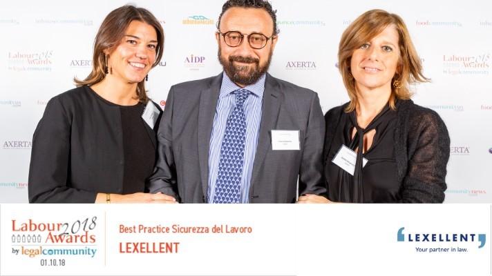 """LEGAL COMMUNITY LABOUR AWARDS 2018: LEXELLENT VINCE IL PREMIO BEST PRACTICE """"SICUREZZA DEL LAVORO"""""""