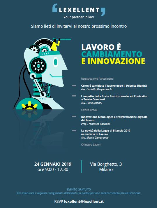 """""""Lavoro è cambiamento e innovazione"""", il 24 gennaio da Lexellent"""