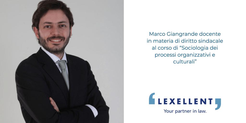 Marco Giangrande docente al Corso di Sociologia dei processi organizzativi e culturali