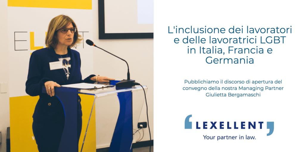 Introduzione di Giulietta Bergamaschi al convegno: L'inclusione dei lavoratori e delle lavoratrici LGBT in Italia, Francia e Germania