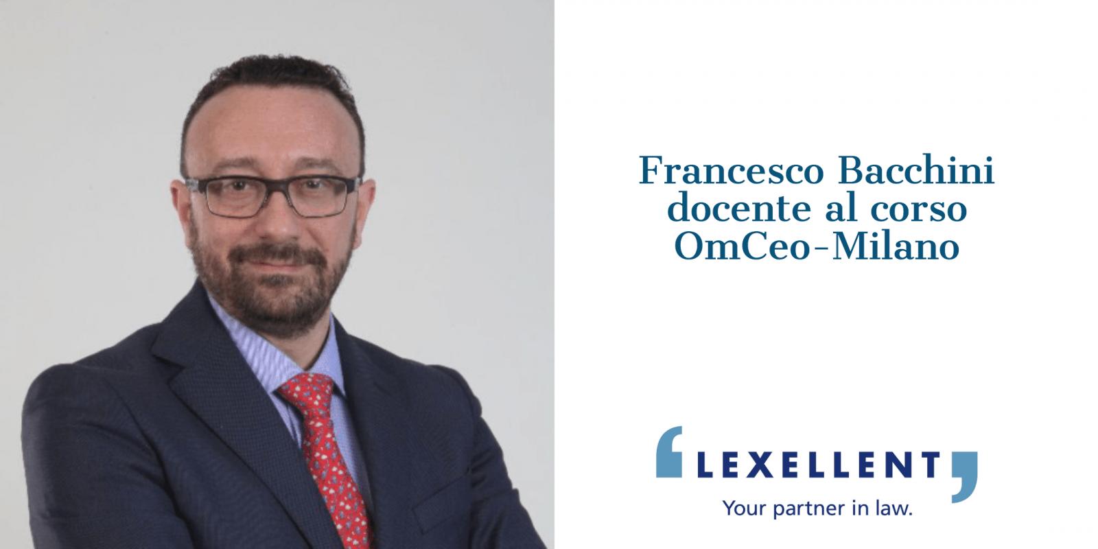 Francesco Bacchini docente al corso di ECM organizzato da OMCEO Milano