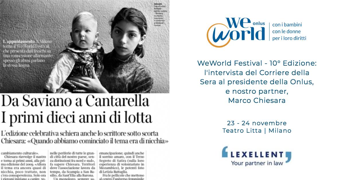 WeWorld Festival, l'intervista a Marco Chiesara sul Corriere della Sera