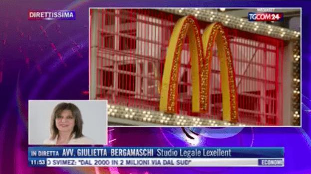 Licenziamento CEO McDonald's: Giulietta Bergamaschi intervistata su TGCom24