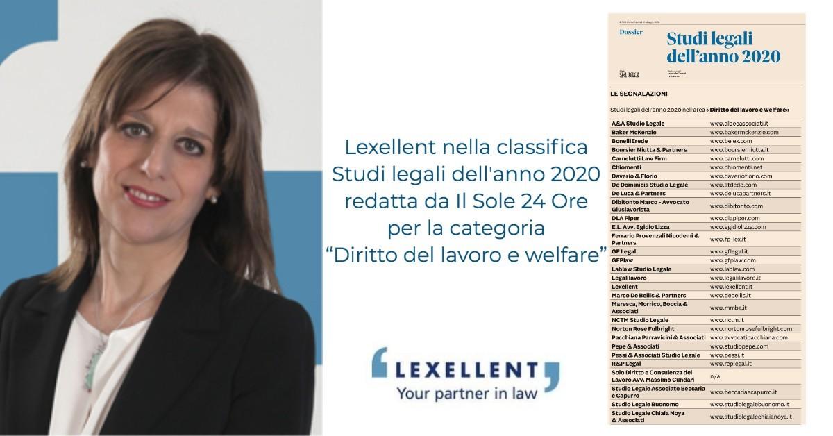 """Lexellent nella classifica Studi dell'Anno 2020 redatto da """"Il Sole 24 Ore"""" nella categoria """"Diritto del lavoro e welfare"""""""