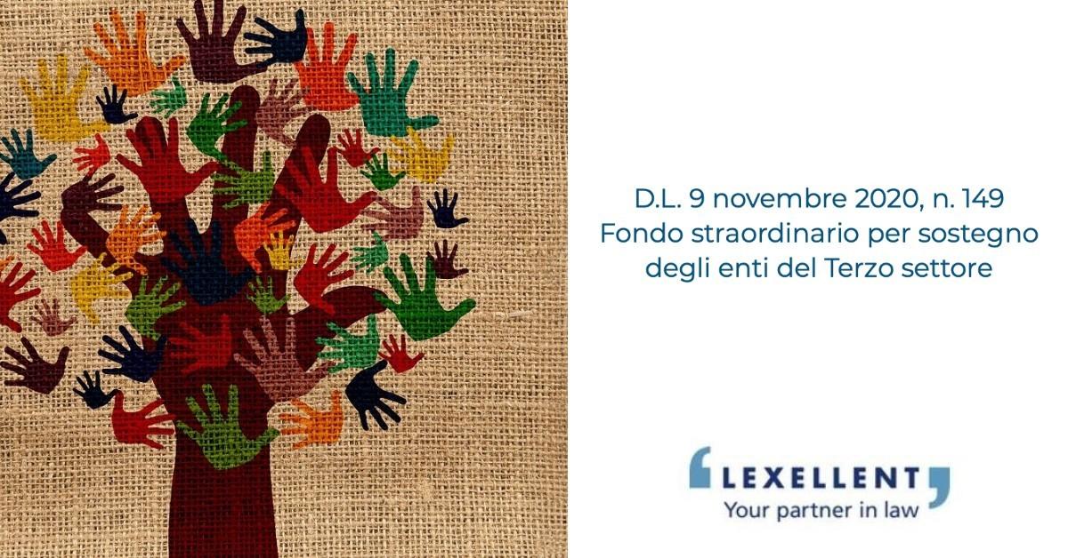 D.L. 9 novembre 2020, n. 149 – Fondo straordinario per sostegno degli enti del Terzo settore