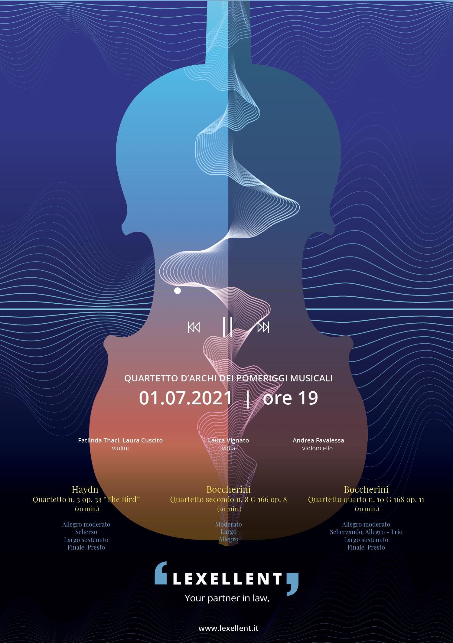Evento estivo in diretta streaming: quartetto d'archi dei Pomeriggi Musicali