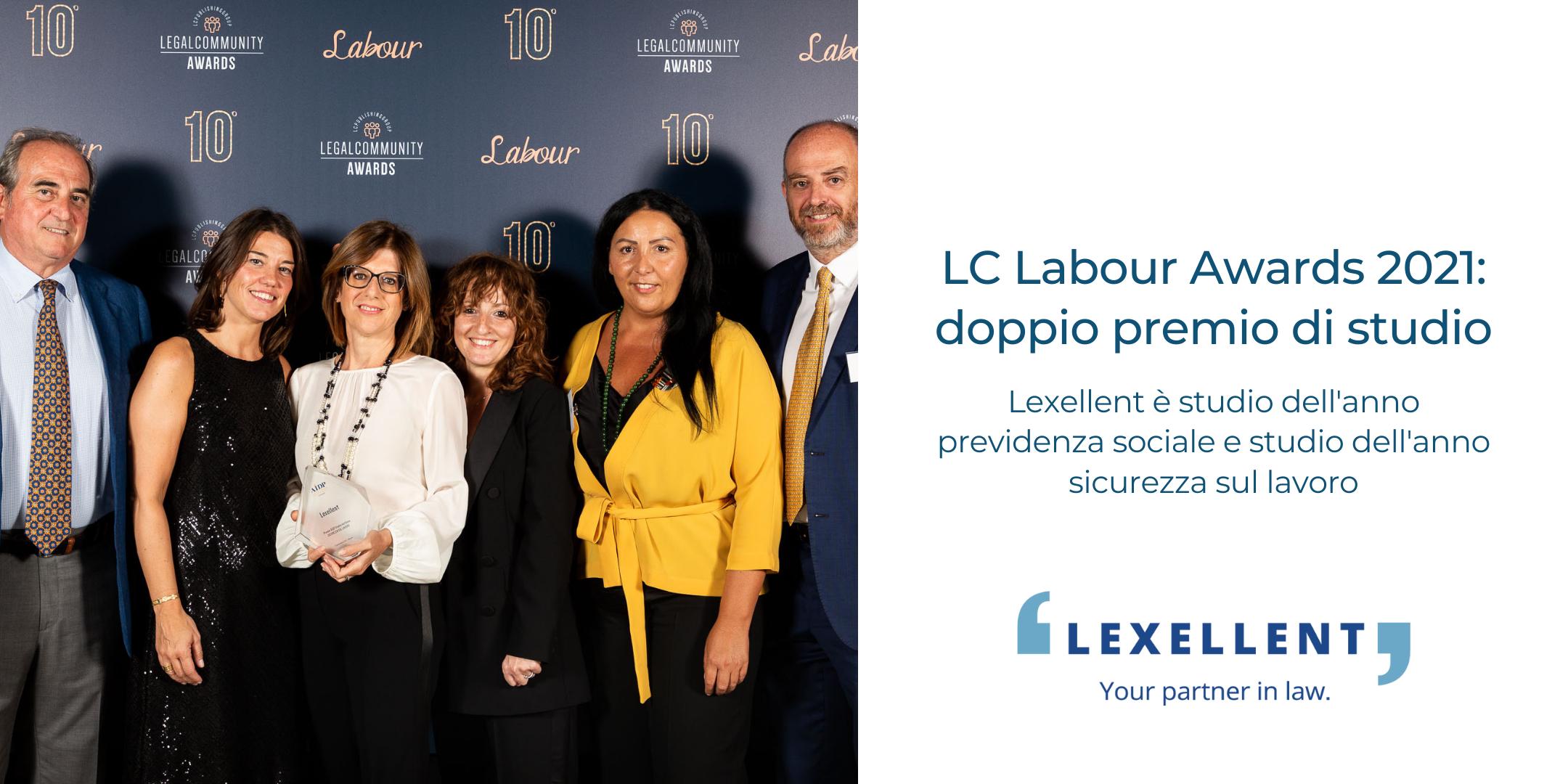 Doppio premio per Lexellent ai Legalcommunity Labour Awards 2021